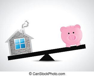 home and savings balance illustration design