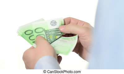 Banknotes of 100 Euros - Businessmans hands counting...