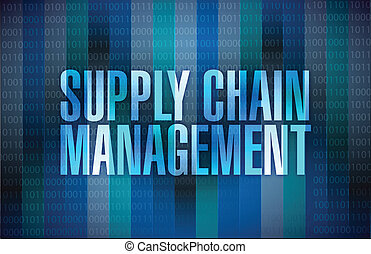 supply chain management sign illustration design over a...