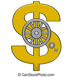 Dollar sign safe - Cartoon illustration showing a safe door...