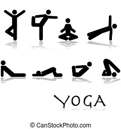 Yoga poses - Icon set showing different yoga poses performed...