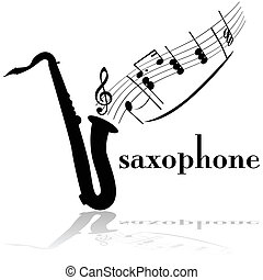 Saxophone - Concept illustration showing a saxophone with...