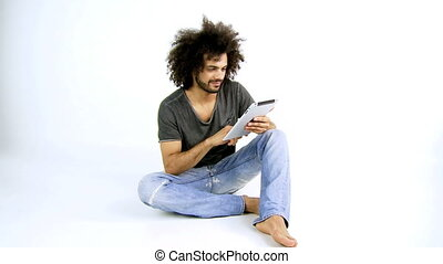 Handsome man working with tablet - Happy man ready to work