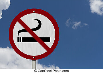 No Smoking Allowed Sign, An red road sign with cigarette...