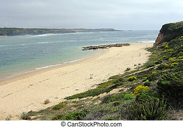 Vila Nova de Mil Fontes - Shoreline view of the beach of...