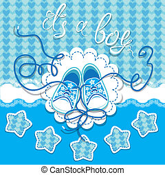 Holiday Dard children gumshoes on blue background - design...