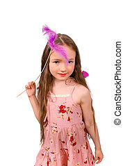 little fairy with magic wand isolated
