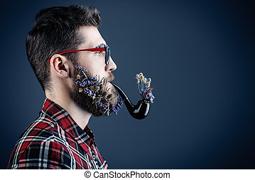 bio life - Handsome young man in glasses and a beard of...
