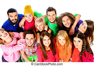 bright people - Large group of cheerful young people....