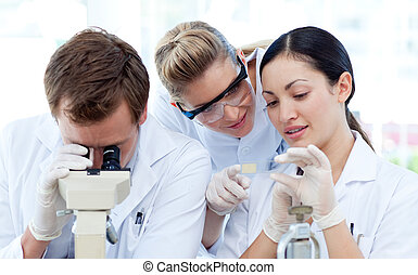 People looking under a microscope