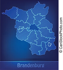 Map of Brandenburg with borders as scrible
