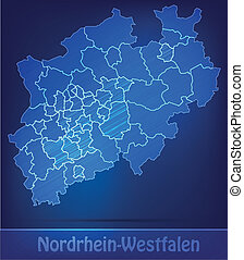 Map of North Rhine-Westphalia with borders as scrible