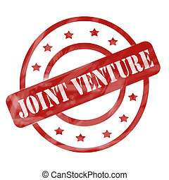 Red Weathered Joint Venture Stamp Circles and Stars - A red...