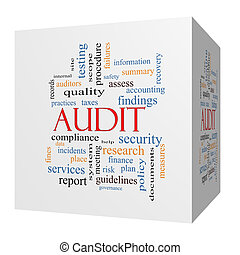 Audit 3D cube Word Cloud Concept with great terms such as...