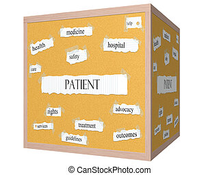 Patient 3D cube Corkboard Word Concept with great terms such...