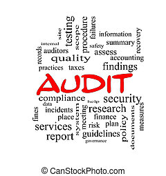 Audit Word Cloud Concept in red caps with great terms such...