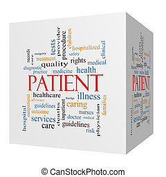 Patient 3D cube Word Cloud Concept with great terms such as...