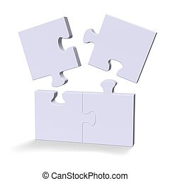 3d puzzle with flying missing pieces - 3d grey puzzle with...