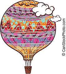 Decorated Balloon - Decorated, colorful hot air balloon and...