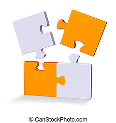 3d puzzle with flying missing pieces