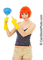 Woman pointing at plunger - Young happy woman pointing at...