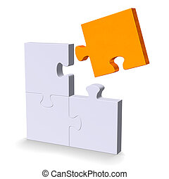 3d puzzle with orange flying missing piece