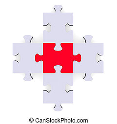 3d grey puzzle forming plus symbol, red center - 3d grey...