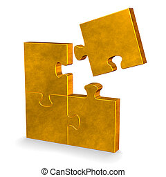 3d puzzle with one flying missing piece