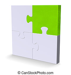 3d puzzle with one green piece