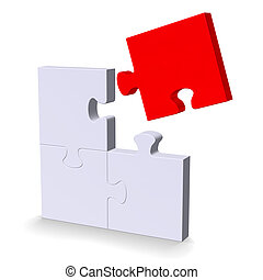 3d puzzle with red flying missing piece - 3d grey puzzle...