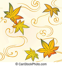 Autumn seamless pattern - Seamless floral kimono pattern...
