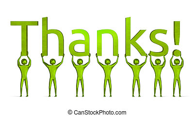 3d people holding thanks text - Green 3d people holding...