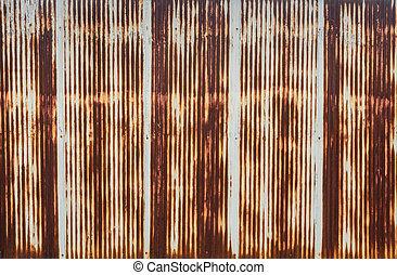 Corrugated metal wall - Rusty corrugated metal wall
