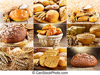 various fresh bread - collage of various fresh bread
