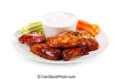 Fried Chicken Wings - plate of chicken wings on white...