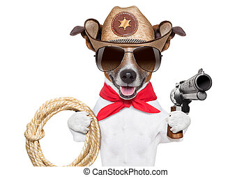 cowboy dog - cool cowboy dog with a pistol , hat and a  rope