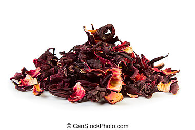 Hibiscus tea - Dry hibiscus tea isolated on white background...