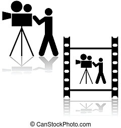 Cameraman - Icon illustration showing a man operating a film...