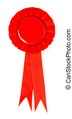 Blank red award winning ribbon rosette isolated on white...