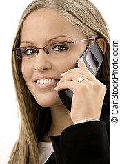 Businesswoman calling on mobile - Young happy businesswoman...