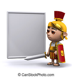 3d Roman soldier whiteboard - 3d render of a Roman soldier...
