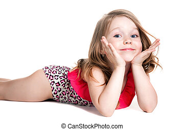little blonde happy girl in pink swimsuit lying on the floor...