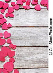 Heart background - Copyspace old wooden background with...