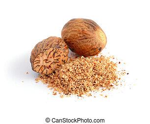Nutmeg with shavings.