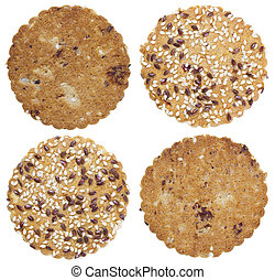 round oatmeal cookies sprinkled with sesame seeds isolated