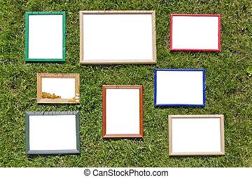 houten, foto, wei, lijstjes, lente