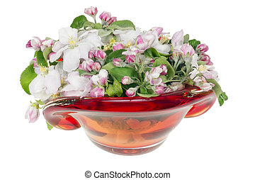 Pink spring apple tree flowers in glass