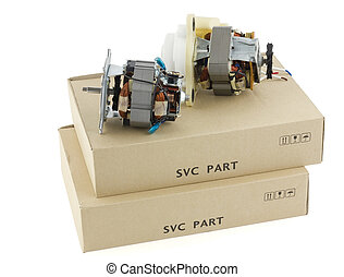 Electric motors and cardboard boxes - Electric motors as...