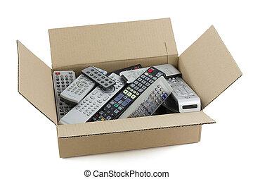 defectuoso, audio, vídeo, remoto, controles
