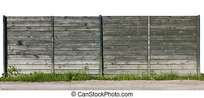 Isolated fragment  of old wooden fence